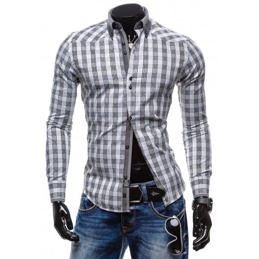 Pánska kockovaná košeľa s dlhým rukávom bielografitovej farby