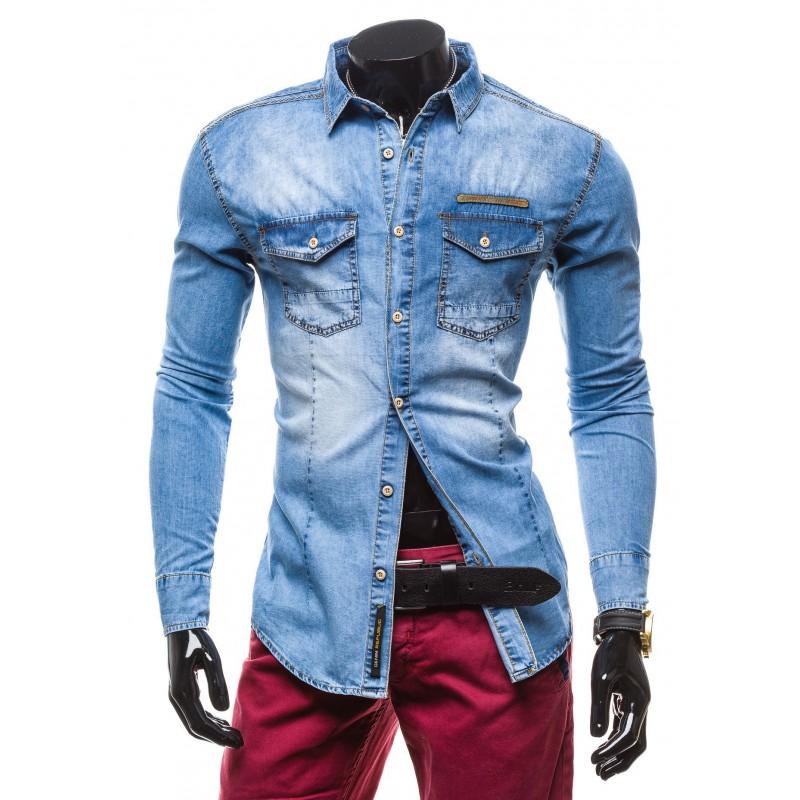 b979c716b245 Predchádzajúci. Rifľová pánska košeľa s dlhým rukávom ...