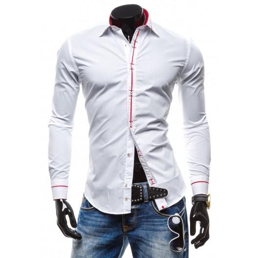 Pánska košeľa s dlhým rukávom bielej farby