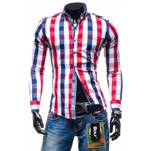 Pánska károvaná košeľa s dlhým rukávom červeno modrá