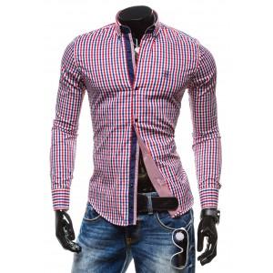Moderná károvaná pánska košeľa s dlhým rukávom červenej farby