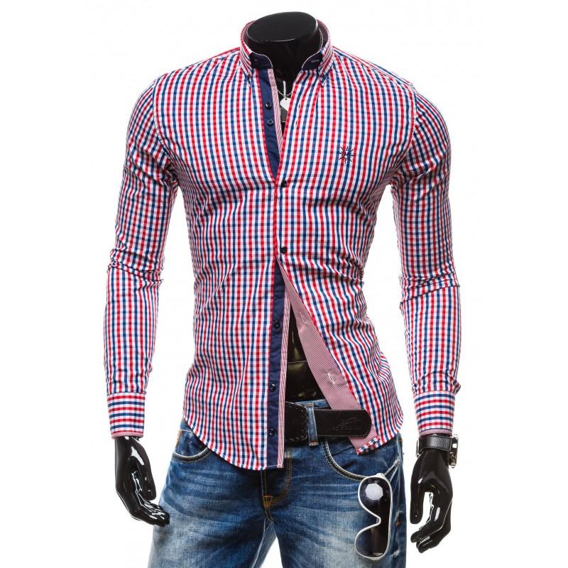 cc2bd7da1bab Predchádzajúci. Moderná károvaná pánska košeľa s dlhým rukávom červenej  farby ...