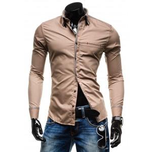 Hnedá pánska slim fit košeľa