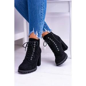 Členkové topánky dámske na hrubom podpätku