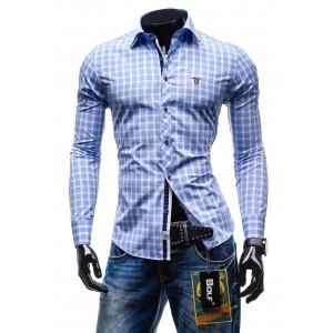 Moderná kockovaná košeľa s dlhým rukávom svetlo-modrej farby