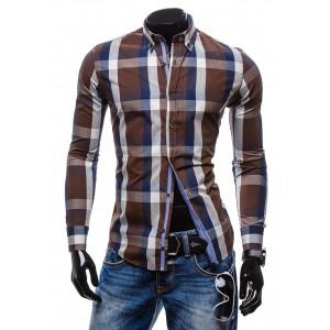 Štýlová pánska kockovaná košeľa hnedej farby