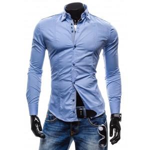 Pánske košele s dlhým rukávom svetlo-modrej farby