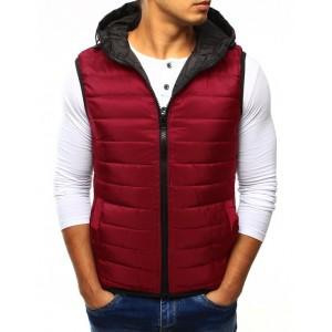 Pánska vesta červenej farby s kapucňou