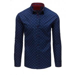 Modrá košeľa s elegantným vzorom
