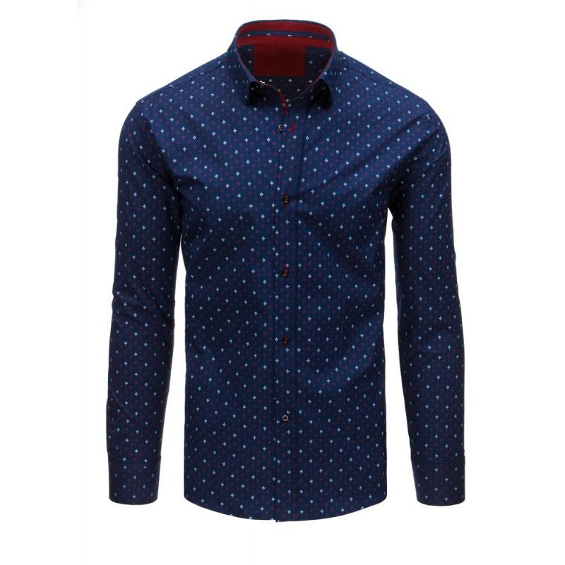 2d20c95bca4c Modrá košeľa s elegantným vzorom