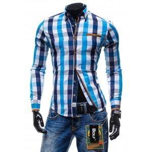 Štýlové pánske kockované košele slim fit svetlo-modrej farby