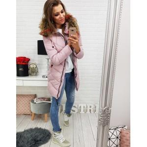 Dámske zimné bundy dlhé v ružovej farbe