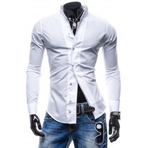 Pánske košele s dlhým rukávom bielej farby