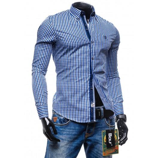 Štýlová pánska kockovaná košeľa modrej farby