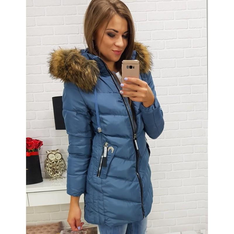 Moderné dámske bundy na zimu modré 9bc602f43f9