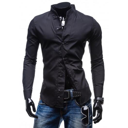 Luxusná pánska slim fit košeľa čiernej farby
