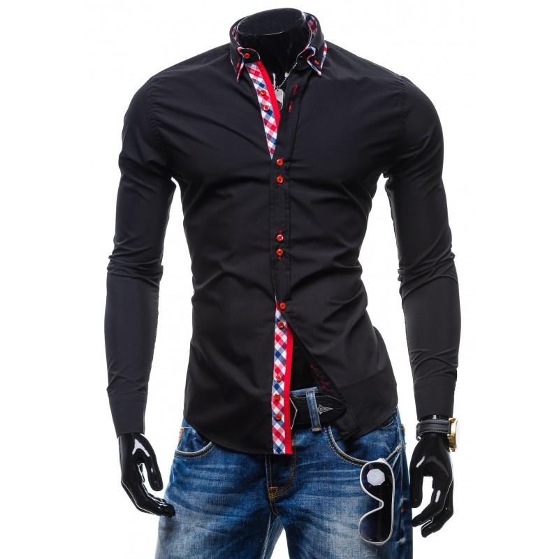 461a63de7441 Šýlové pánske košele slim fit čiernej farby - fashionday.eu