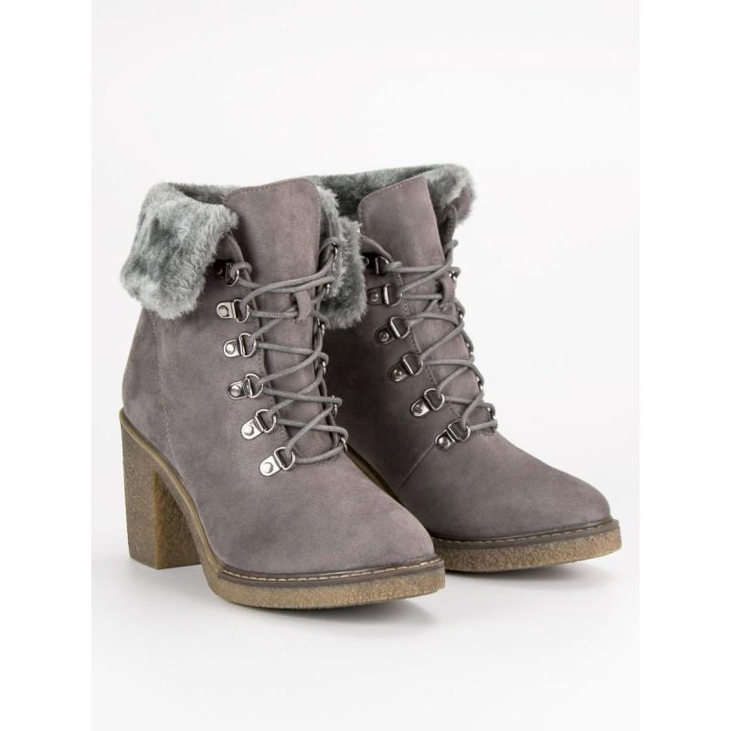 1ded2be0e7526 Zimná obuv dámska na hrubom podpätku