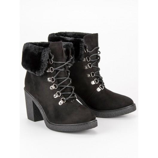 Členkové topánky na zimu so šnúrovaním