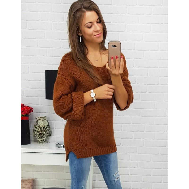 Pletené svetre dámske hnedej farby 295b6203919