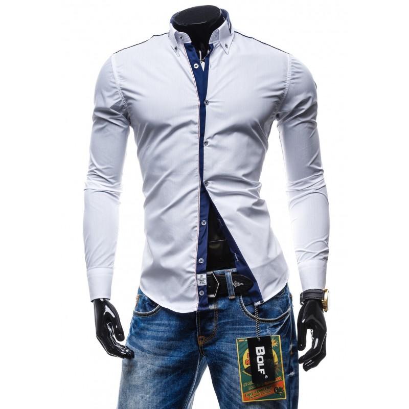 5d71309535f1 Štýlová pánska slim fit košeľa bielej farby - fashionday.eu
