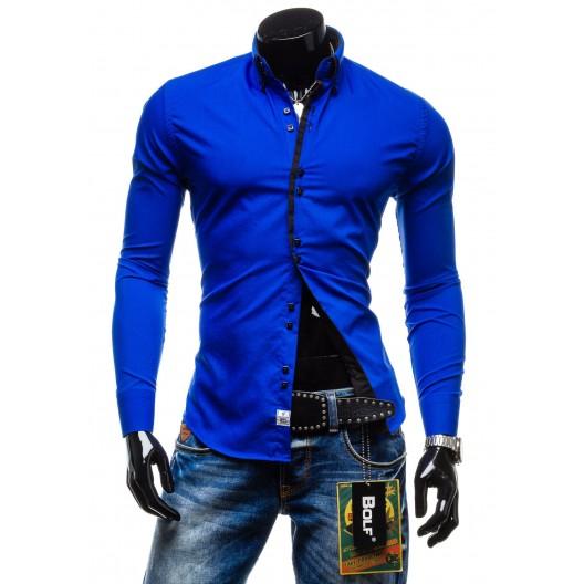 Elegantná sýto-modrá slim fit pánska košeľa