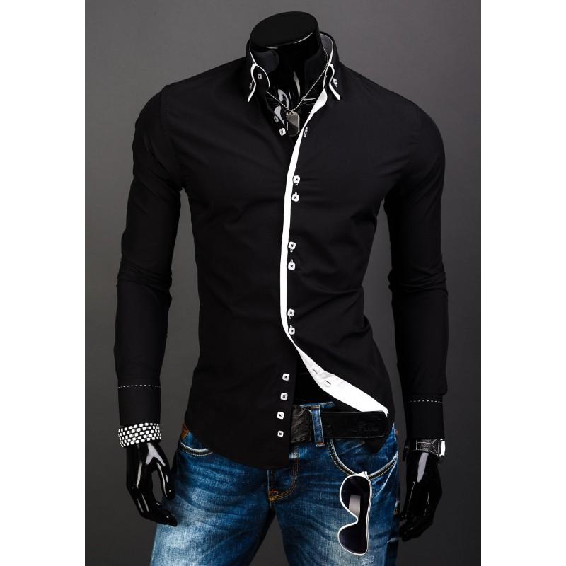 6ec316b68df0 Elegantná čierna slim fit pánska košeľa - fashionday.eu