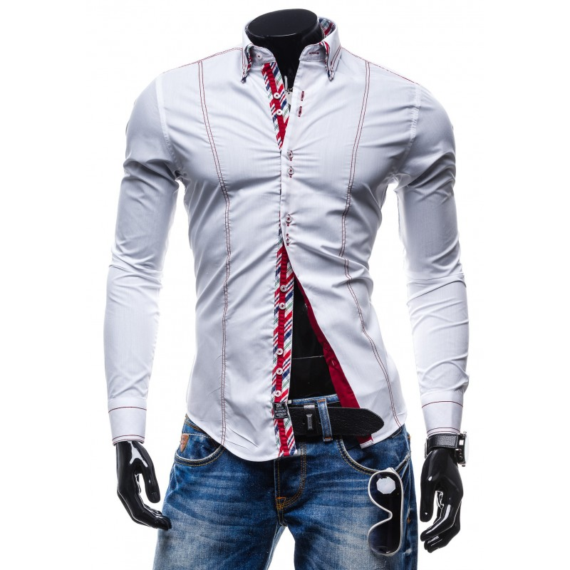 c1d5d9a73cf7 Elegantná biela slim fit pánska košeľa - fashionday.eu