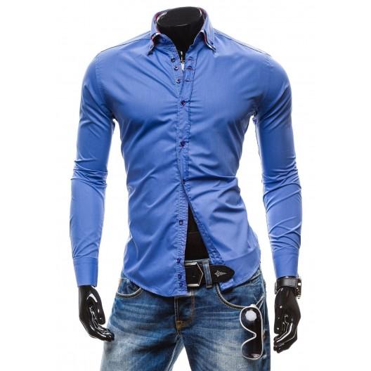 Elegantná belasá slim fit pánska košeľa