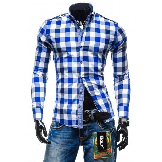 Štýlová pánska kockovaná košeľa svetlo-modrej farby