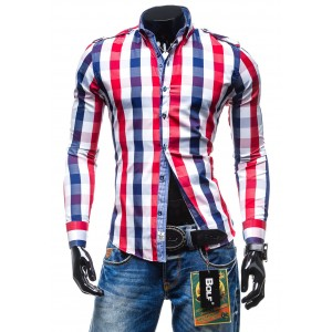 Štýlová pánska kockovaná košeľa červenej farby