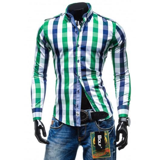Pánska kockovaná slim fit košeľa zeleno-modrej farby