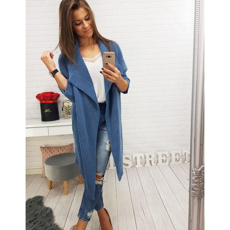 6ad2fc275e03 Pletené dlhé svetre v modrej farbe