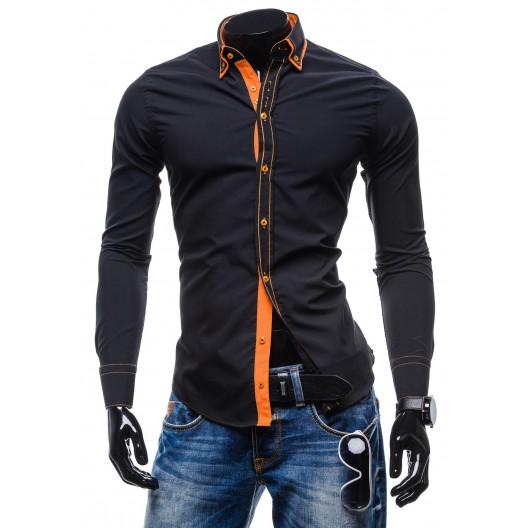 Moderná pánska košeľa slim fit čiernej farby