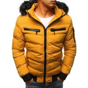 Lacné zimné bundy v žltej farbe