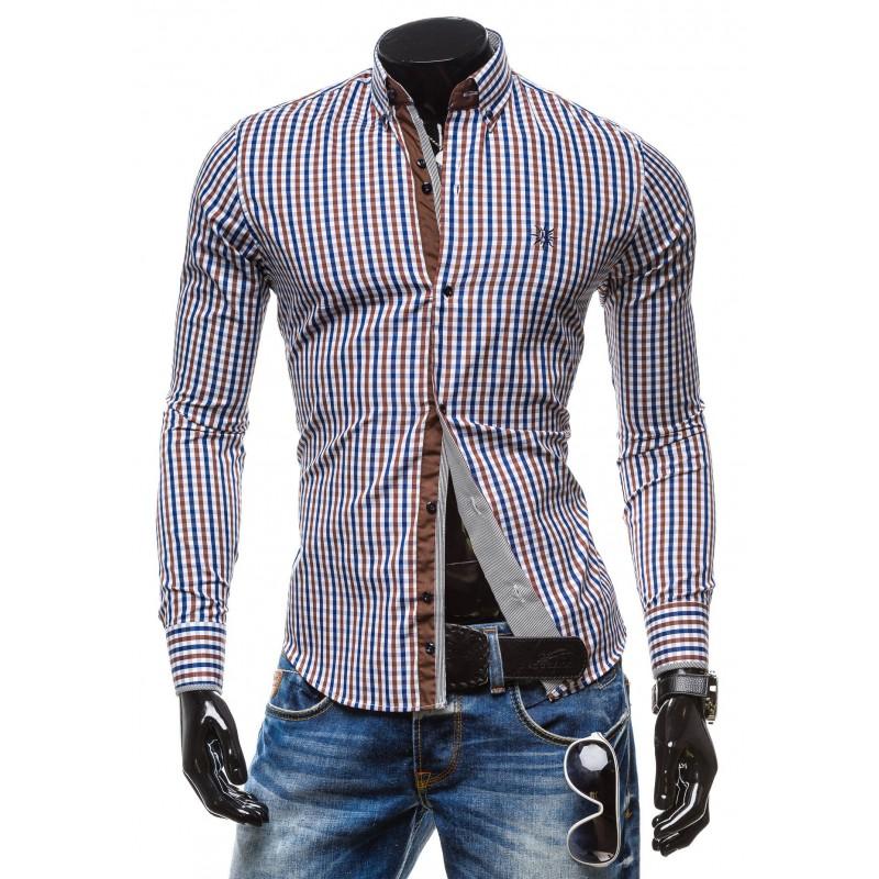 234a604e7646 Predchádzajúci. Moderná pánska károvaná košeľa hnedej farby ...