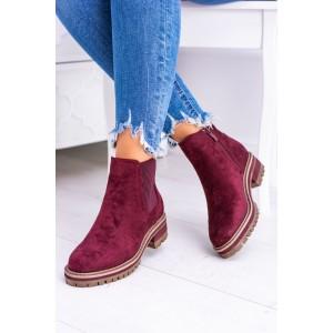 Dámske členkové topánky bordové
