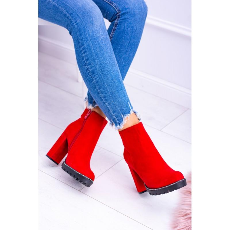 633b121a9e8a Členkové topánky na opätku v červenej farbe