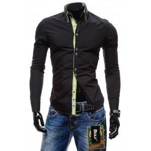 Trendy pánska slim fit košeľa čiernej farby