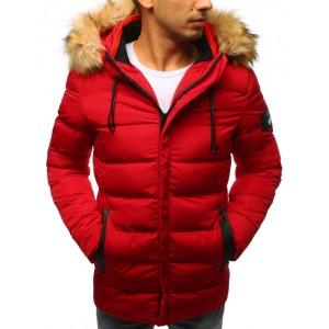 Pánska zimná prešivaná bunda červená
