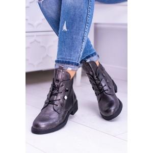 Členkové strieborné topánky so šnurovaním