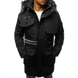 Zimná pánska bunda dlhá s kožušinou