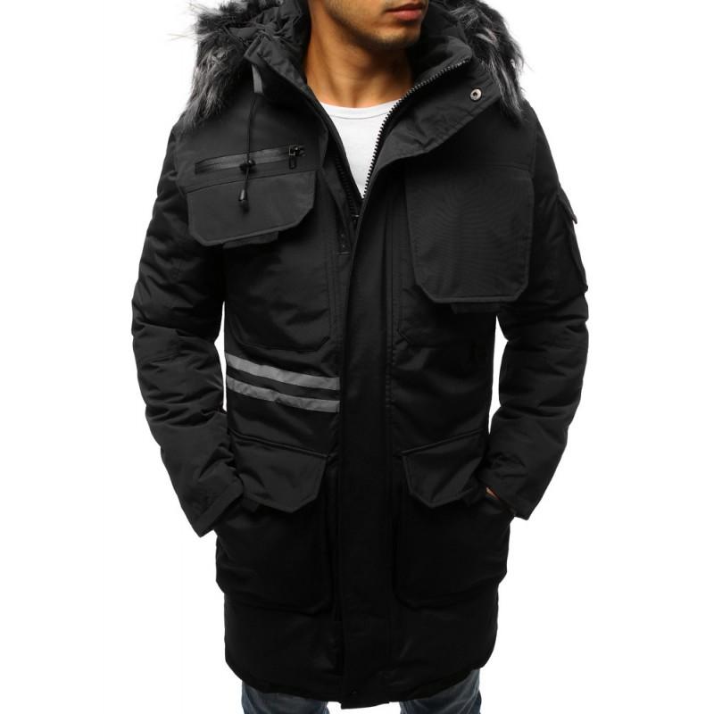 Zimná pánska bunda dlhá s kožušinou čierna 3b285e14257