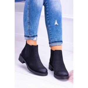 Kotníkové čierne semišové topánky