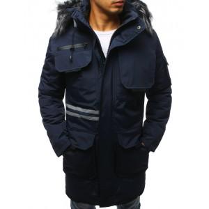 Zimná pánska bunda dlhá s kožušinou modra