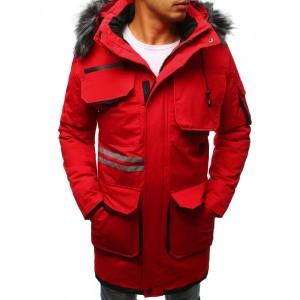 Zimná pánska bunda dlhá s kožušinou červená