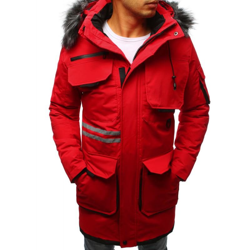 Zimná pánska bunda dlhá s kožušinou červená 7f05453a683