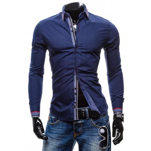 Luxusná pánska košeľa slim fit tmavo-modrej farby