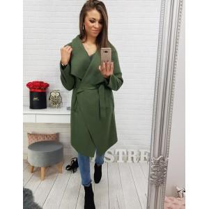 Dámsky jarný kabát v zelenej farbe