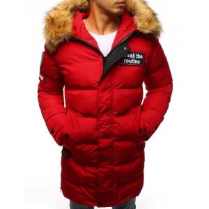 Pánska bunda na zimu prešivana s kožušinou červená